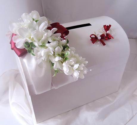 svatební pokladnička velká- motýlci bordó,
