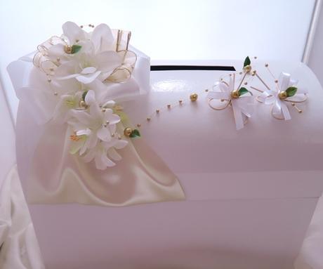 svatební pokladnička velká- motýlci zlatobílí,