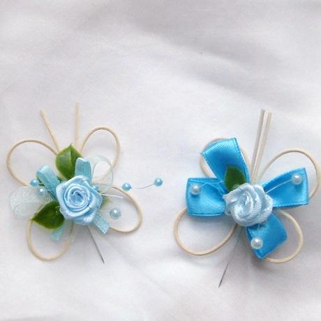 """svatební vývazek """"motýlek modrý a tyrkys"""","""