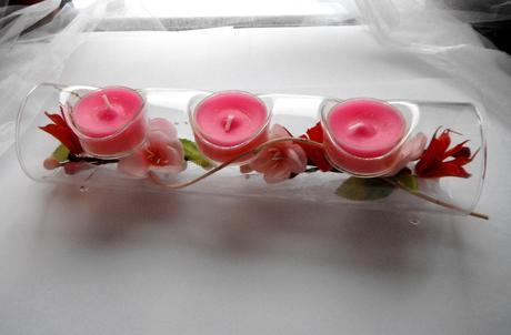 svícen na 3 čajové svíčky s dekorací,