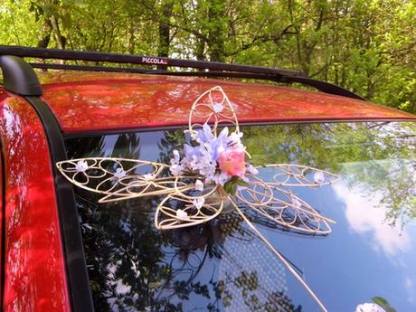 """výzdoba auta """"Krajkové květy růžovofialové"""" zapůjč,"""