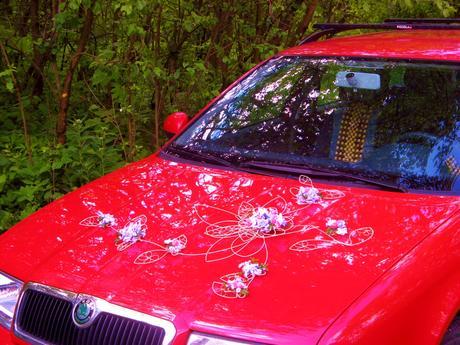 """Výzdoba auta """"Šípková růže - růžovofialová"""","""