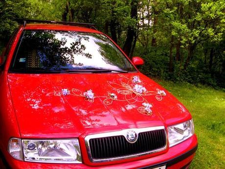 """Výzdoba auta """"Šípková růže - růžovofialová"""" zapůjč,"""
