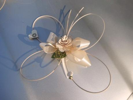 Výzdoba svatebního auta- 5ks motýlci ivory-zlatá,