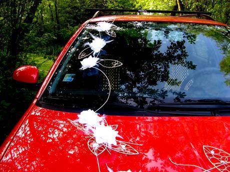 """výzdoba svatebního auta """"Krajkové květy - bílé"""","""