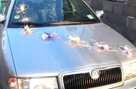 Výzdoba svatebního auta- motýlí duet,