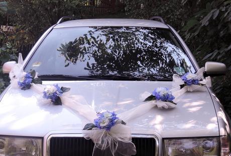 """Výzdoba svatebního auta- """"Romance s hortenzií"""","""