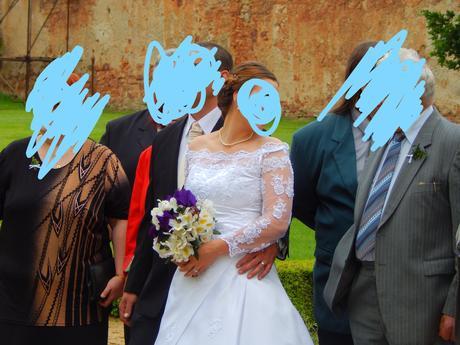 Korzetové svatební šaty s krajkovými rukávy 38-42, 40