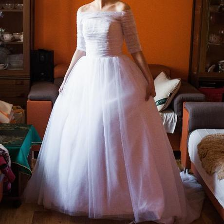 Svatební šaty bílé s rukávky, vel. 36, 36