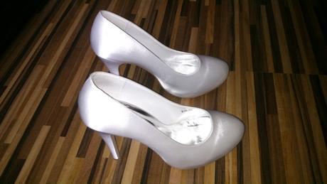 Svadobné saténové lodičky + zdarma biele balerínky, 38
