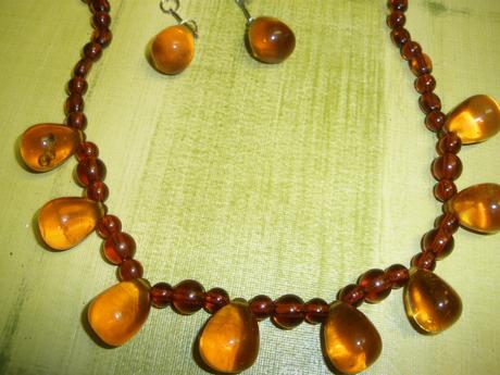 náhrdelník + náušnice sklenené korálky,,