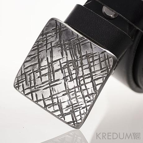 Kovaná nerez spona Kavalír 3X + kožený pásek 3 cm,