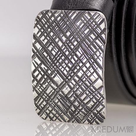 Kovaná nerez spona kožený pásek 3,5 cm Mistr 3,5X,