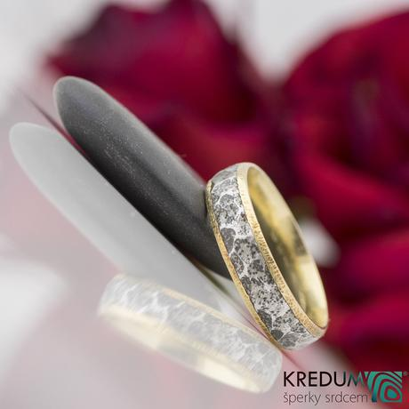 Prsteny nerezová ocel a zlato - Cygnus yellow,