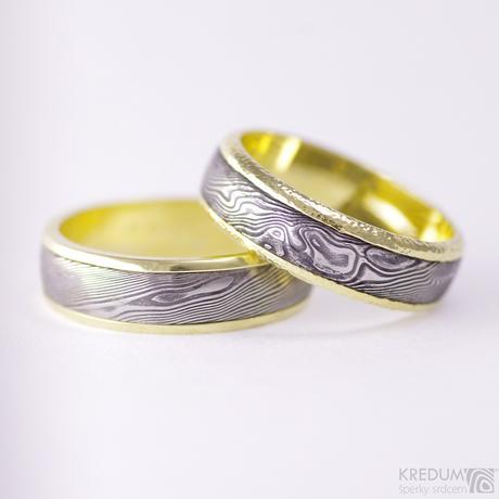 Zlaté snubní prsteny a damasteel - Kasiopea yellow,