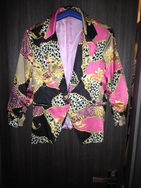 čierno-ružové  lesklé sako , 40