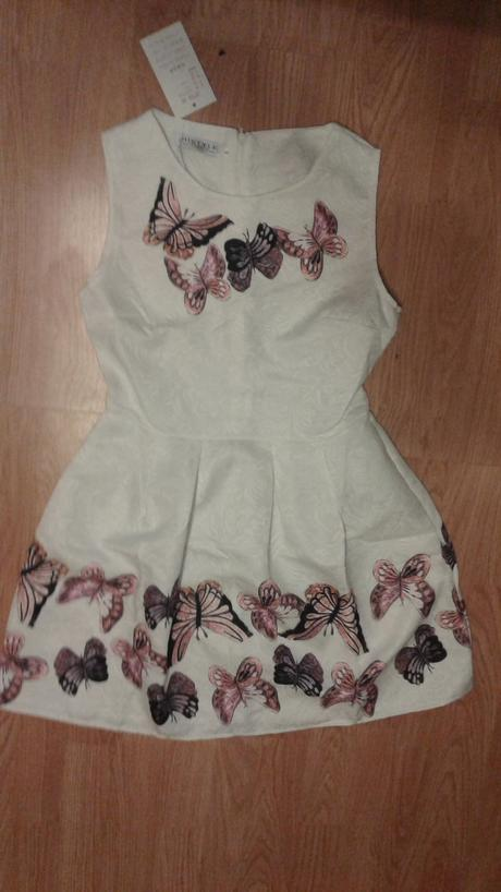 saty biele s motylmi vel 152/158,-S 18e+posta , 158