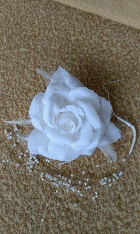 Snehovo biela ruža do vlasov,