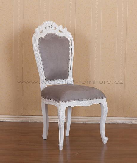 Bílá lakovaná retro barokní židle,