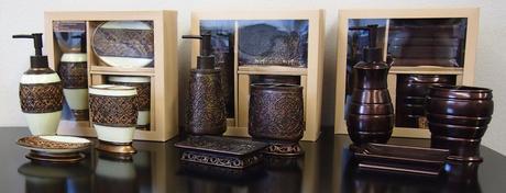 Koupelnové doplňky v barvě bronz, staromosaz,