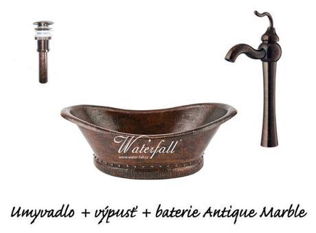 Měděné umyvadlo s baterií Antique Marble,