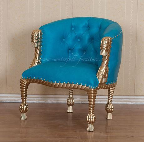 Modré barokní křesílko Poolblue,