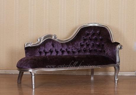 Stříbrné retro zámecké sofa,