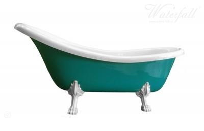 Tyrkysová retro volně stojící vana,