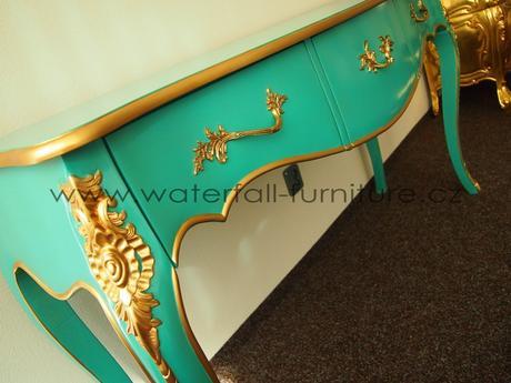 Tyrkysový toaletní stolek, konzolový stolek,