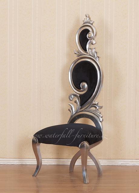 Zámecká stříbrná jídelní židle Silver Leaf,