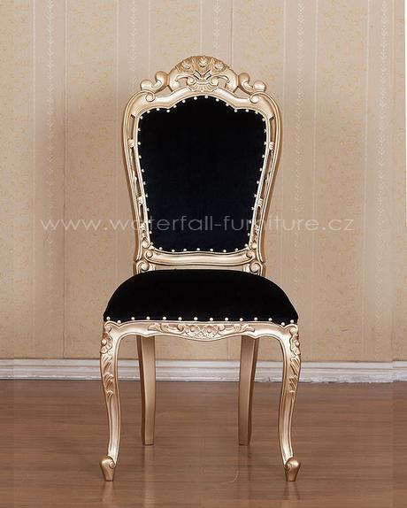 Zlatá zámecká jídelní židle,