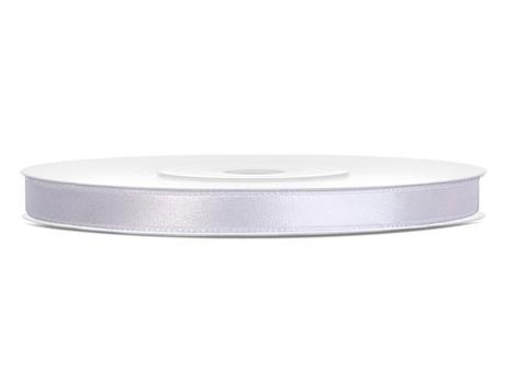 Bílé saténové stuhy - 25 m / 0,6 cm,