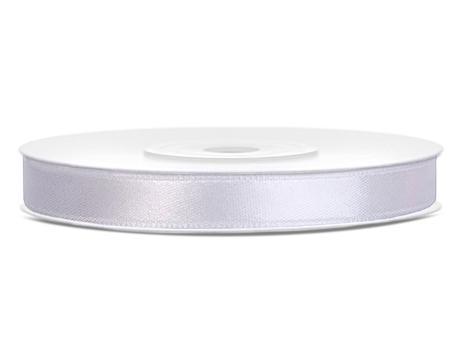 Bílé saténové stuhy - 25 m / 1,2 cm,
