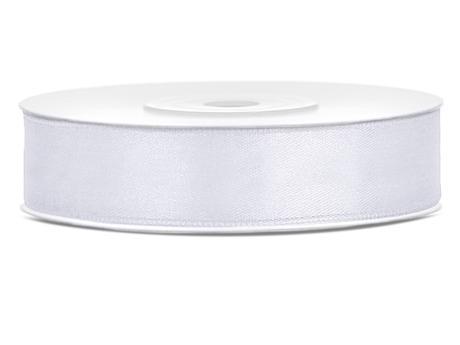 Bílé saténové stuhy - 25 m / 2,5 cm,