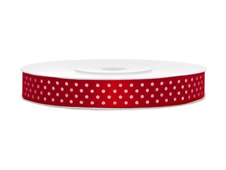 Červené saténové stuhy s puntíky- 25 m / 1,2 cm,
