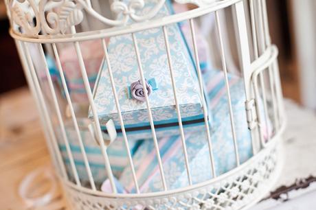 Krabičky na výslužky - modré vintage,