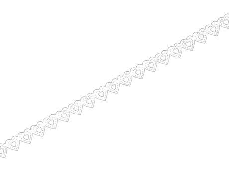 Ozdobná lepící krajková páska - bílá srdíčka,