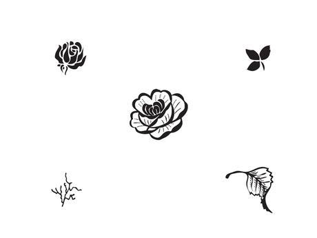 Razítka - růže a listy,