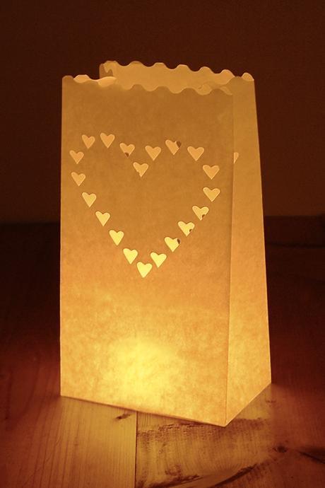 Srdcová lucerna na svíčku,