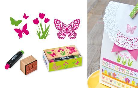 Svatební razítka - motýli s květinou,