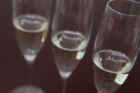 Svatební skleničky se jmény - sekt - od 12 ks,