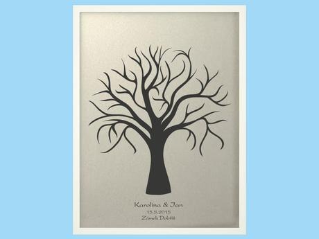 Svatební strom 1 se jmény v bílém rámu 53 x 73 cm,