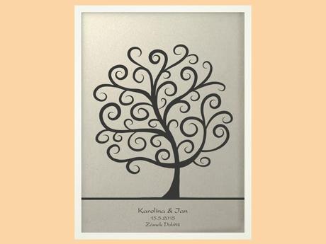 Svatební strom 2 se jmény v bílém rámu 53 x 73 cm,