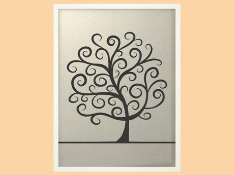 Svatební strom 2 v bílém rámu 53 x 73 cm,