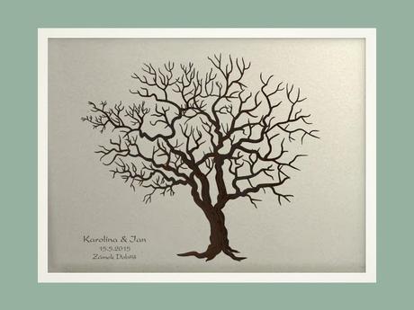 Svatební strom 3 se jmény v bílém rámu 73 x 53 cm,