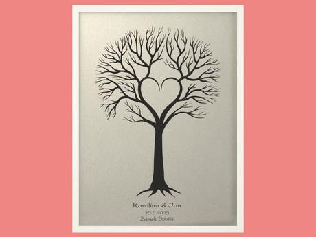 Svatební strom 4 se jmény v bílém rámu 53 x 73 cm,