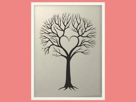 Svatební strom 4 v bílém rámu 53 x 73 cm,