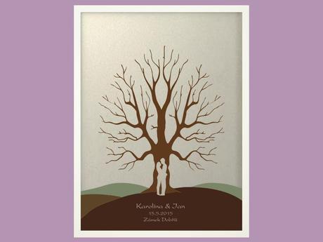 Svatební strom 5 se jmény v bílém rámu 53 x 73 cm,