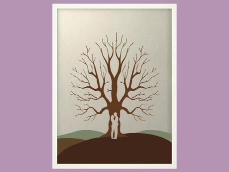 Svatební strom 5 v bílém rámu 53 x 73 cm,