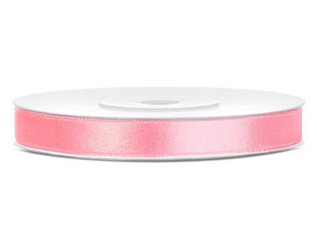 Světle růžové saténové stuhy - 25 m / 1,2 cm,